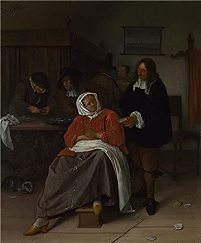 The high quality polyster Canvas of oil painting 'Jan Steen An Interior with a Man offering an Oyster to a Woman ' ,size: 20 x 24 inch / 51 x 61 cm ,this Reproductions Art Decorative Prints on Canvas is fit for Game Room artwork and Home artwork and - Quality Interior Latex Paint Semi