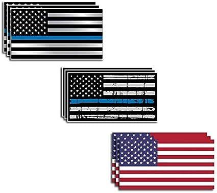 Paquete Variado de calcomanías de Bandera de Estados Unidos y línea Azul Delgada para Oficial caído de la Bandera Estadounidense, para Auto, camión, Azul: Amazon.es: Coche y moto