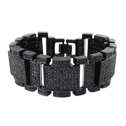 - NIV'S BLING - Iced Out 14K Silver/Black/Gold Plated Bracelet - Cubic Zirconia Men's Hip Hop Jewelry
