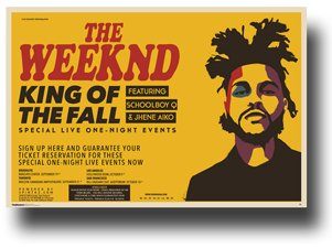 The Weeknd Poster - 2015 Concert Tour King of Fall 11 X 17 Wide