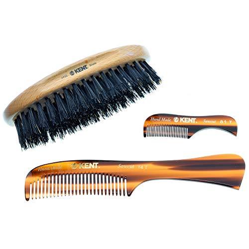 Kent Beard Kit for Men Grooming Kit I Mustache & Beard Care Kit for Men I Beard Brush Kit and Comb Set I Beard Kit for Men Gift I PF22 Brush I 14T Beard Comb I 81T Mustache Pocket Comb I Mens Gift Set
