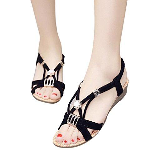 Ouneed® Damen Sandalen ,Damen Sommer glitzer Wedges Schuhe Bohemia Beaded Freizeit Lady Sandalen Peep-Toe Outdoor Schuhe Schwarz