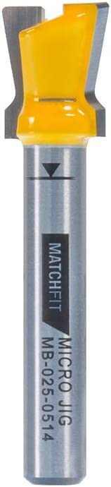 """MATCHFIT MB-025-0514 Dovetail Router Bit (1/4"""" Shank), Yellow, 14-Degree by 1/2"""" Dovetail with 1/4"""" Shank"""