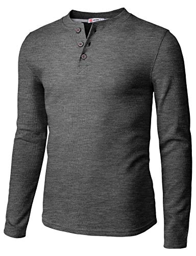 H2H Mens Casual Henley Long Sleeve Waffle Cotton T-Shirts Charcoal US L/Asia XL - Waffle Henley