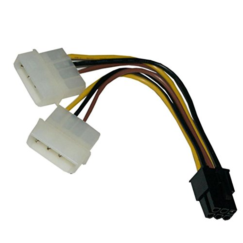 ATX IDE Molex Power Dual 4 To 6-Pin PCI Express PCIe Video Card Adapter Cable18CM ,Tuscom