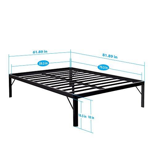 olee sleep 14 18 inch tall round edge steel slat bed frame s 3500 high profile platform bed frame. Black Bedroom Furniture Sets. Home Design Ideas