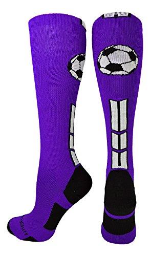 Soccer Ball Over the Calf Socks (Purple/Black/White, Small) Purple Kids Soccer Socks