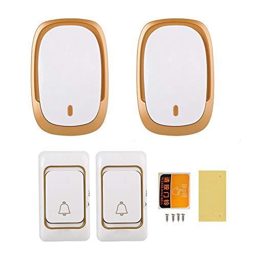 [해외]무선 초인종 방수 도어 벨 차임 키트 36 멜로디4 레벨 볼륨보안 초인종 홈 오피스 (2 수신기 2 전송기) / Wireless DoorbellWaterproof Door Bell Chime Kit 36 Melodies4 Levels VolumeSecurity Doorbell for Home Office (2 Receiver 2 Transmiter...