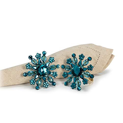 - Abbott Collection 27-TIFFANY-811-TURQ Turq Snowflake Napkin Ring-3