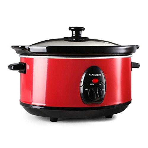 Klarstein Bristol 35 Slow Cooker Schongarer Schmor-Kochtopf elektrisch (spülmaschinengeeignet, Innentopf aus Keramik, Edelstahl-Außentopf, 3,5 Liter, 200 Watt, 2 Temperaturstufen) rot