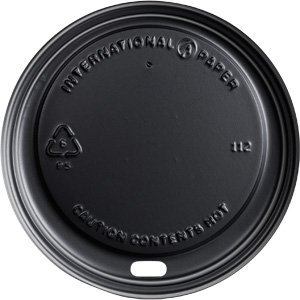 International Paper LHRDSB16 Polystrene Dome Sipper Hot Cup Lid, 10-Ounce to 24-Ounce, Black (12 Packs of 100)