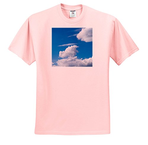 Cirrus Plate - Alexis Photography - Nature Sky - Cumulus and Cirrus Clouds, Blue Sky, Good Weather - T-Shirts - Adult Light-Pink-T-Shirt Medium (TS_271921_35)