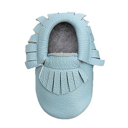 Kingfansion Baby Tassel Soft Sole Leather Shoes Infant Boy Girl Toddler Moccasin (M, Blue)