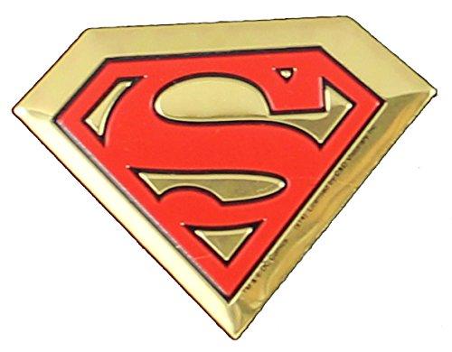 DC Comics Originals Superman Logo On Embossed Metal Emblem Sticker, Yellow, 4cm]()