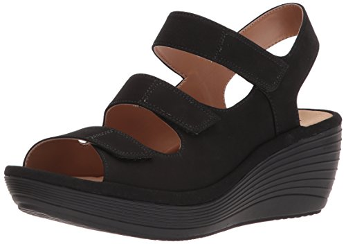 Sandals Nubuck Clarks (CLARKS Women's Reedly Juno Wedge Sandal, Black Nubuck, 8 Medium US)