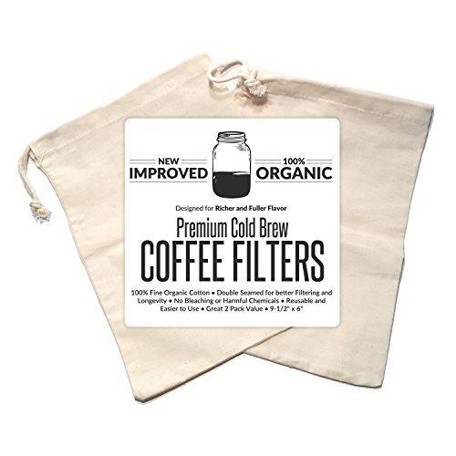 Cold Brew Coffee Maker Filter Premium Organic Cotton Nut Milk Bag Reusable 9.5