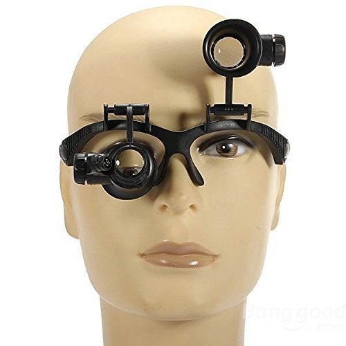 10X 15X 20X 25X LED Magnifier Illuminated Double Eye Glass Jeweler Loupe Repair Magnifying Mexi