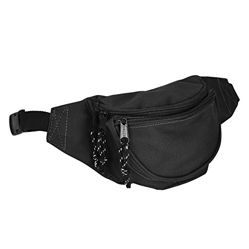 (DALIX Fanny Pack w/3 Pockets Traveling Concealment Pouch Airport Money Bag (Black))