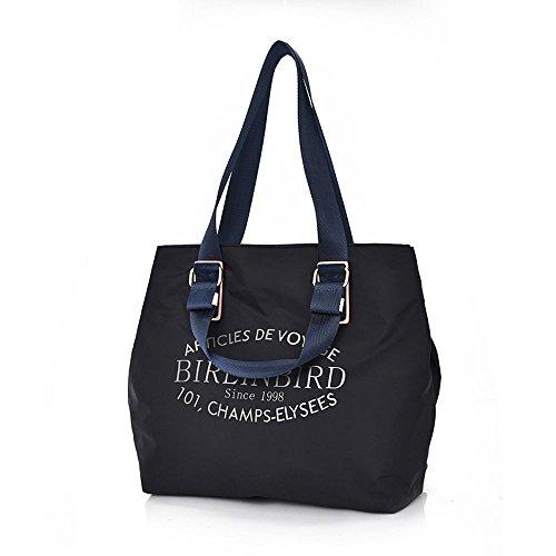 Black Handbag Fashion Lady Bag Single Cloth Waterproof Shoulder Oxford 45cmx23cmx38cm Size Simple Messenger Penao O1qFwg55