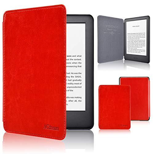 ACdream Case Fits All-New Kindle 10th Genetation 2019 Release, The Thinnest and Lightest Premium PU Leather Cover Case for Kindle 10th Generation 2019 with Auto Wake Sleep Feather, Red ()