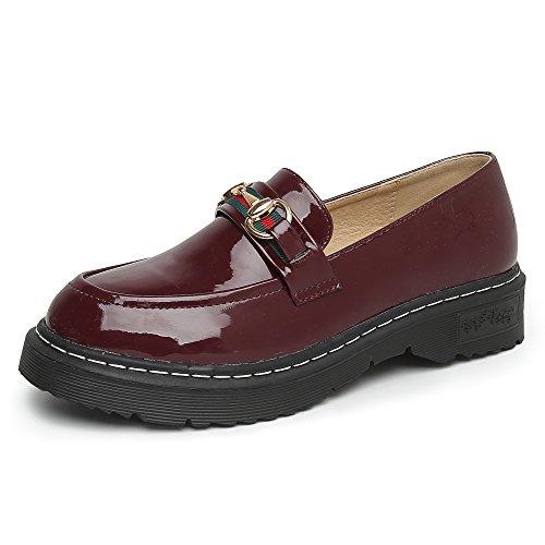 JRenok Mocassins Femme Loisir Chaussures de Ville Cuir Derbies Confort Plates Loafers Style Britannique Noir Rouge Rouge uuV8XW