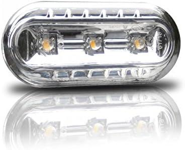 Intermitentes laterales led, transparentes, cromo, ovalado, izquierda + derecha, juego con certificado E, libre de registro.: Amazon.es: Coche y moto