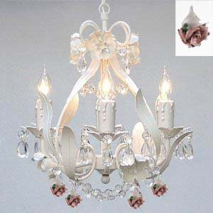 WHITE IRON CRYSTAL FLOWER CHANDELIER LIGHTING W/ FLOWERS! – PERFECT FOR KID'S AND GIRLS BEDROOM! – Dressed with Authentic Capodimonte Porcelain Flowers Made in Italy!