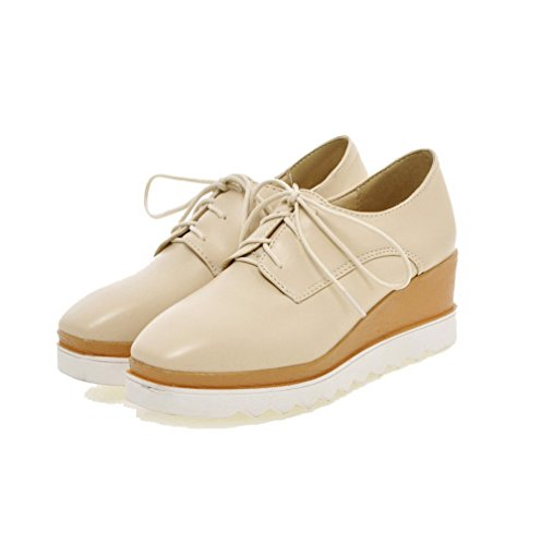Odomolor Women's PU Solid Lace-up Square-Toe Kitten-Heels Pumps-Shoes, Beige, 37