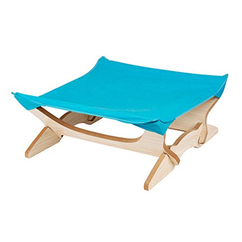 (Hide on bush Cat Window Perches, Cat Seat Bed Hammock Space Saving Design with Cat Shelves All Around 360° Sunbath,Square Mat Four-Pointed Cat Hammock Wooden Removable (Blue))