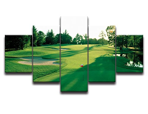Fields Gallery (Green Grass Canvas Prints Wall Art Golf Course Field Painting Home Decor for Living Room Modern Landscape Pictures 5 Panel Gallery-wrapped Framed Stretched Ready to Hang(50''Wx24''H))