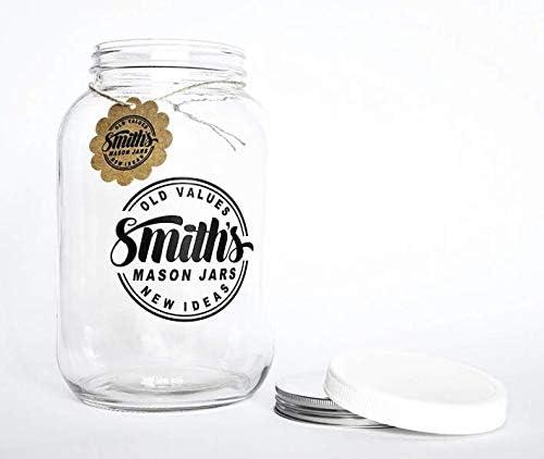 Frasco de vidrio de boca ancha de 1 galón (128 oz / 3.7L) con tapas de plástico y metal - Tira de temperatura GRATUITA: Amazon.es: Hogar
