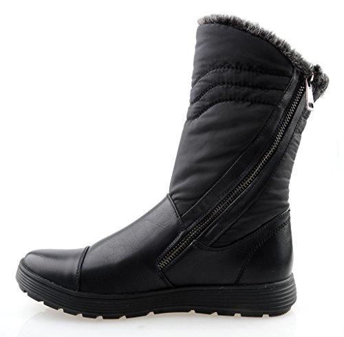 Mujeres de eyekepper confort puntera redonda Mid Calf Flat tobillo alto invierno botas de nieve apiladas totalmente forrada de piel con cremallera negro