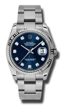Rolex Datejust Blue Dial Automatic Stainless Steel Ladies Watch 116234BLDO