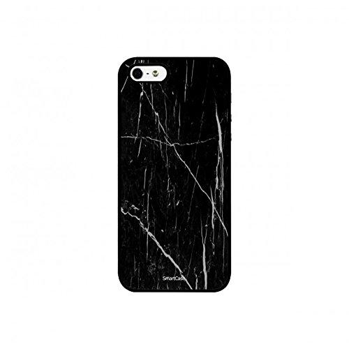 Coque + Verre Trempé pour iPhone 5/5S/SE SmartCase® Motif Marbre Noir et Blanc