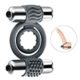 Utimi Penis Rings Vibrating Cock Ring Dick Dual Sex Rings with Mini Bullet Vibrators for Male Masturbation