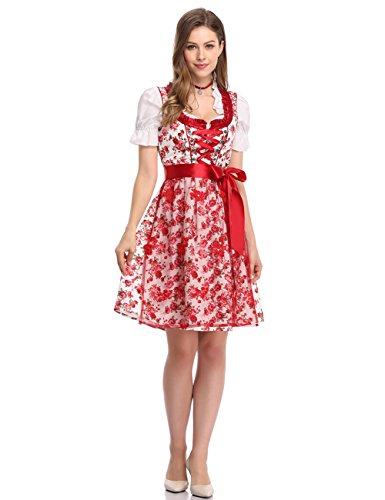 GloryStar Women's German Dirndl Dress 3 Pieces Traditional Bavarian Oktoberfest Costumes for Halloween Carnival (2XL, Red-PPW) ()