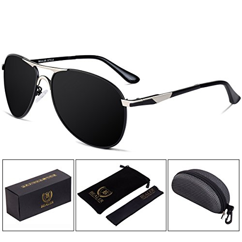 BEALER Men's Classic Metal Aviator Sunglasses Polarized with Sun Glasses Case - UV400 Protection 62mm (Silver&Black, - Blocking Uv Sunglasses