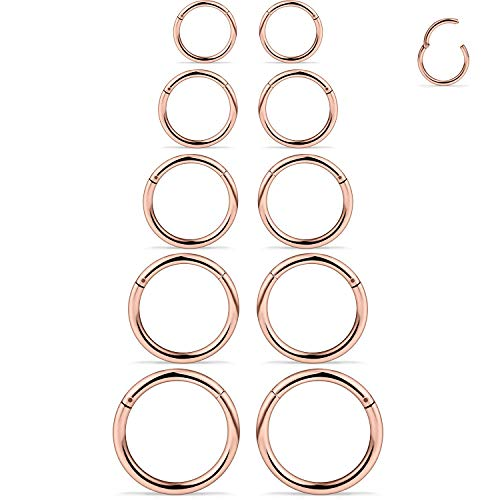 SCERRING 10PCS 16G Stainless Steel Hinged Clicker Segment Septum Nose Lip Ring Hoop Nipple Cartilage Tragus Sleeper Earrings Body Piercing Jewelry 8mm 10mm 12mm 14mm 16mm Rose Gold