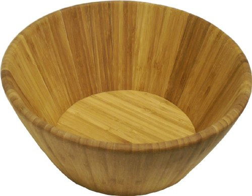Island Bamboo LSBSB All Brown Salad Bowl, Large, 11.5-Inch by 5-Inch