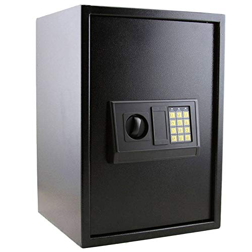 Binlin Cabinet Safes,E50EA Home Use Electronic Password Steel Plate Safe Box Electronic Digital Safe Large Security Box Keypad Lock for Gun Cash Jewelry Valuable Storage, Black