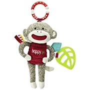 Baby Starters Sock Monkey Crinkle, Rattle, Squeak Plush with Hook, Brown/Red, 9