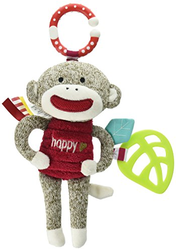 Baby Starters Sock Monkey Crinkle, Rattle, Squeak Plush with