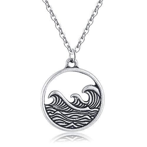 - Rosa Vila Vintage Round Wave Necklace, Ocean Jewelry for Women, Ocean Necklace, Go with The Waves Beachy Necklaces