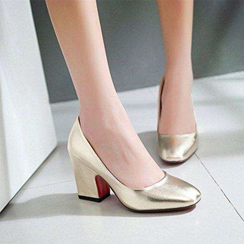 Chfso Womens Fashion En Cuir Verni À Lorteil Talon Chunky Haute Plus Pompes Chaussures Or