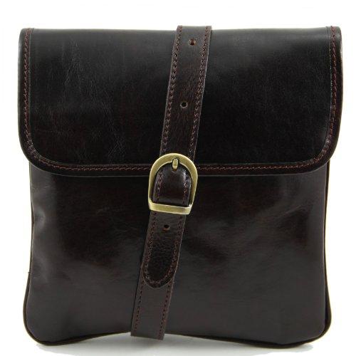Tuscany Leather Joe Leather Crossbody Bag Dark Brown Leather bags for men by Tuscany Leather