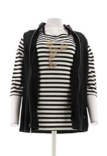 (Quacker Factory Zip Front Vest & 3/4 SLV T-Shirt Black/Lobster S New)