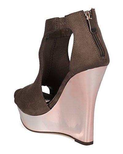 Alrisco Kvinnor Metall Kil Sandal - Peep Toeplattformhälet - Klippa Ut Spegel Metallisk Sandal - Dressat Utekväll Sko - He07 Av Liliana Samling Taupe Faux Mocka