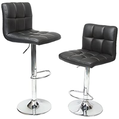 Roundhill Furniture Swivel Black Bonded Leather Adjustable Hydraulic Bar Stool
