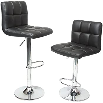 Roundhill Furniture Swivel Black Bonded Leather Adjustable Hydraulic Bar Stool Set of 2  sc 1 st  Amazon.com & Amazon.com: Homall Bar Stools Swivel Black Bonded Leather Barstool ... islam-shia.org