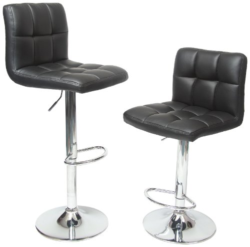 Roundhill Furniture Swivel Black Bonded Leather Adjustable Hydraulic Bar Stool, Set of 2 (Adjustable Bar Style Stool)